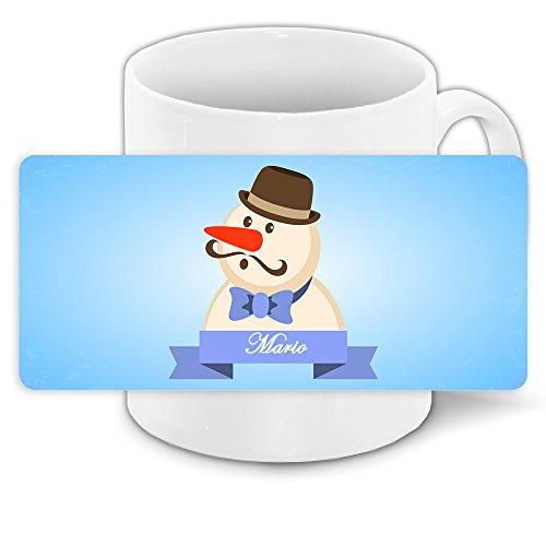 o und schönem Schneemann-Motiv mit Hut und Schnurrbart - Tasse zu Weihnachten ()
