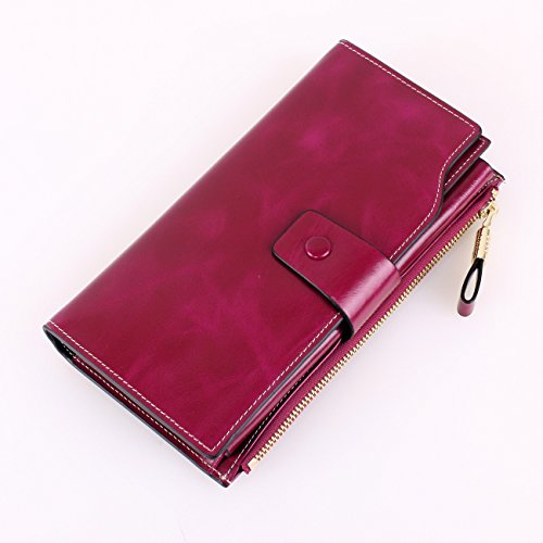 BIG SALE-70% OFF-Yafeige Women's Large Capacity Oil wax cowhide Leather Purse Genuine Leather Wallet With Zipper Pocket(Purple)