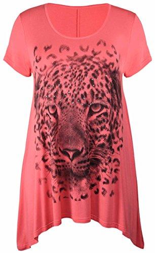 Purple Hanger - Haut T-Shirt Femme Manche Courte Ourlet Inégal Imprimé Tête De Tigre Extensible Grande Taille Corail