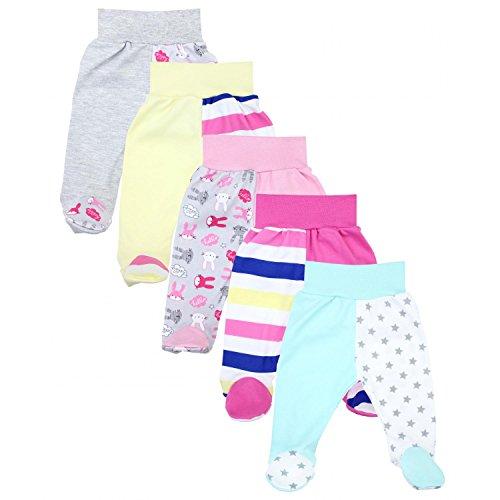 TupTam Unisex Baby Hose mit Fuß Bunte Strampelhose 5er Pack, Farbe: Mädchen 3, Größe: 62