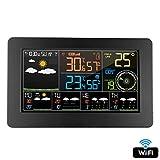 Alarme Numérique Horloge Murale Station Météo Wifi Intérieure Extérieure Température Humidité Pression Vent Prévisions Météorologiques LCD