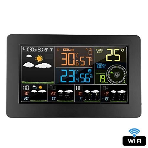 King Boutiques Weather Clock Digital Alarm Wanduhr Wetterstation WiFi Indoor Outdoor Temperatur Luftfeuchtigkeit Druck Wind Wettervorhersage LCD Haushaltsgegenstände