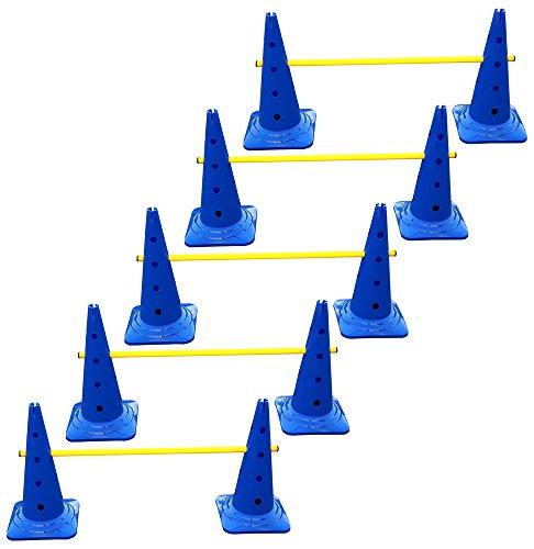5er Set Steckhürden für Koordinationstraining - 10x MZK: 50 cm, blau / 5x Stange: 100 cm, gelb