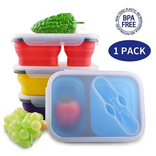 Dalebox Faltbare Lunchbox - luftdichte, erweiterbare Silikon-Bento-Box - BPA-frei, mikrowellen-, kühlschrank- und gefriergeeignet mit 2 Fächern (1 Pack) rot (Expandable Utensil)