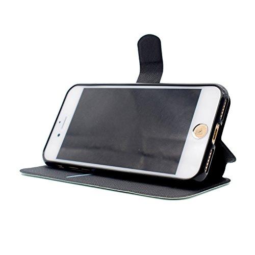 iPhone 7 Coque, Voguecase Étui en cuir synthétique chic avec fonction support pratique pour Apple iPhone 7 4.7 (Loup de neige)de Gratuit stylet l'écran aléatoire universelle Ours noir