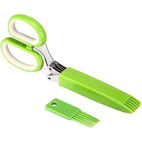 Xcellent Global Forbici a 5 lame per tagliare le erbe, con copertura e pettine per la pulizia, per mano sinistra e mano destra HG070