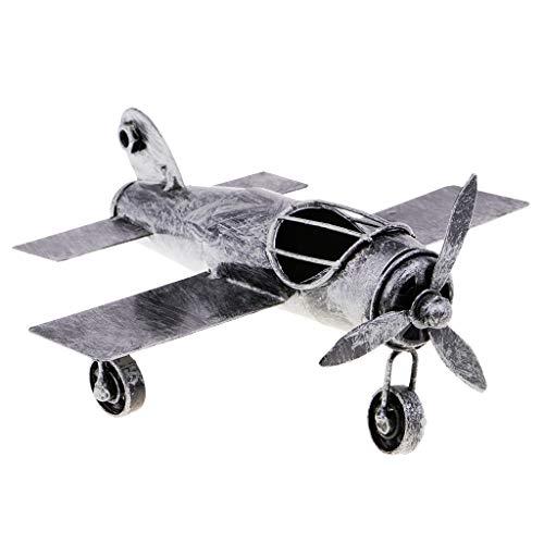 Baoblaze Vintage Jahrgang Flugzeug Militärflugzeug Modell Dekoration - Silber Schwarz