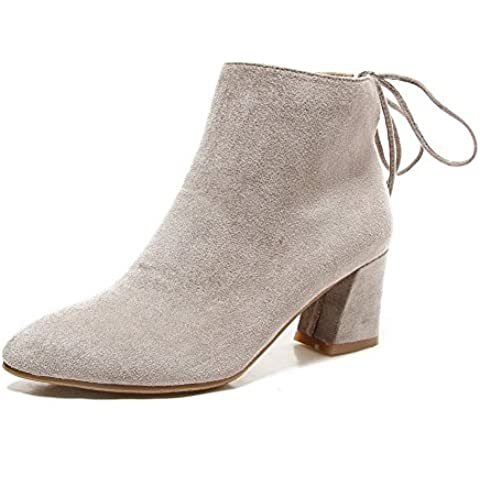 VogueZone009 Donna Tacco Medio Alla Caviglia Puro Allacciare Stivali