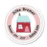 24 individuelle Aufkleber für Kinder - Motiv rotes Haus -