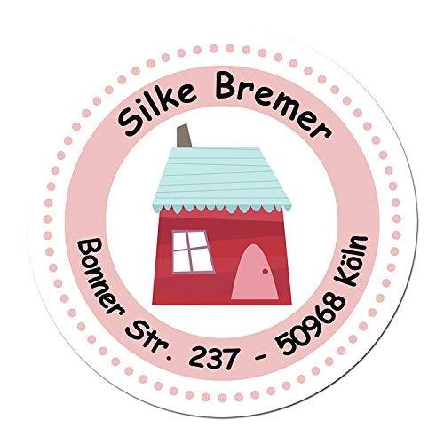 24 individuelle Aufkleber für Kinder - Motiv rotes Haus - personalisierte Sticker - Adresse Schule Einschulung