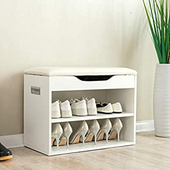 sale retailer 726f2 6aa63 Cherry Tree Furniture 2-Level Shoe Rack Bench Storage 60 x 30 x 45 cm, White