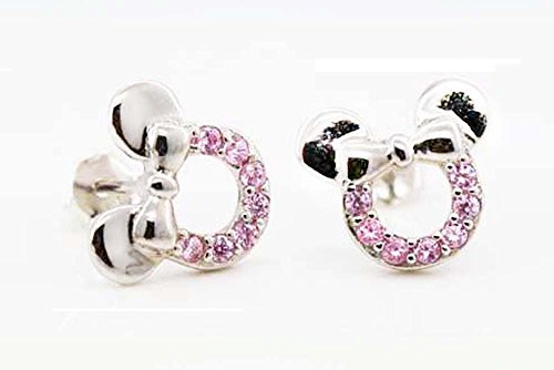 Image of findout sterling silver Cubic Zircons hollow Mickey Mouse earrings .for women girls .(f1696)