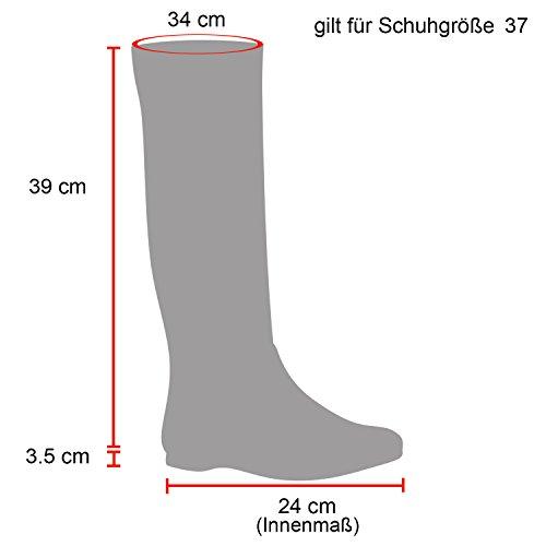 Stiefelparadies Damen Reiterstiefel Cowboystiefel Leder-Optik Gefütterte Stiefel Metallic Blockabsatz Schuhe Schnallen Lack Boots Fransen Flandell Schwarz