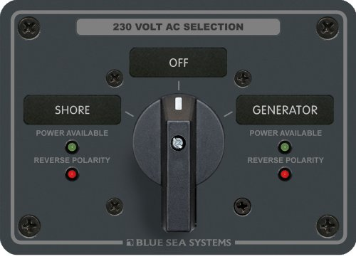 Blue Sea - 8357 Ac Rotary Switch Panel 65 Ampere 2 Position Aus, 2-polig Ac Rotary Switch Panel