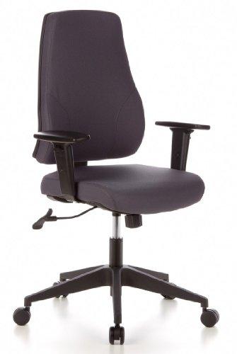 hjh OFFICE 608130 Bürostuhl PRO-TEC 100 Stoff Grau Drehstuhl ergonomisch mit Verstellbarer Arm- & Rückenlehne