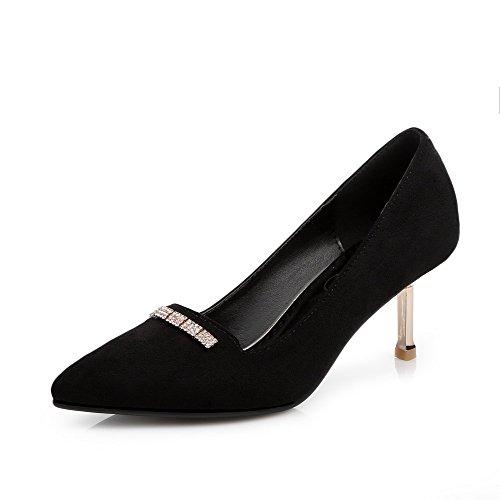 AgooLar Damen Mattglasbirne Spitz Zehe Mittler Absatz Ziehen Auf Eingelegt Pumps Schuhe Schwarz