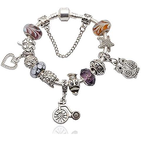 Charm Bracelet adatta Pandora di stile monili placcati d'argento perle di vetro fai da te Handmade Vintage Accessori viola e Silver Star Style ipoallergenico novità gioielli 19CM JSP1