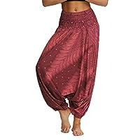 Lcoco&Dream Women's Drop Bottom Elastic Waist Loose Fit Baggy Gypsy Hippie Boho Yoga Harem Pants (one Size, ycL030)