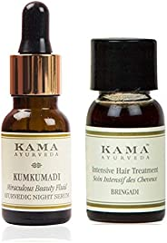 Kama Ayurveda Kumkumadi Miraculous Beauty Ayurvedic Night Serum 12ml, Bringadi Intensive Hair Treatment 8ml Co