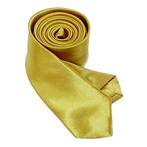 OM3TM TRENDY SKINNY TIE/Modische schmale dünne Krawatte in über 30 Farben Colors Party Business Schlips Handmade Smoking Anzug Unisex, Gold, ca.140cm x 4,5cm