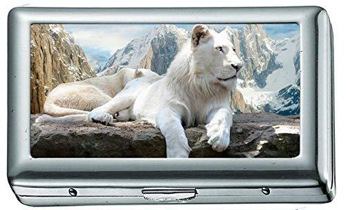 White Lions Zigarettenetui / -schachtel Visitenkartenetui Edelstahlgehäuse Silber Metall Brieftasche Schutz Lion Deckel