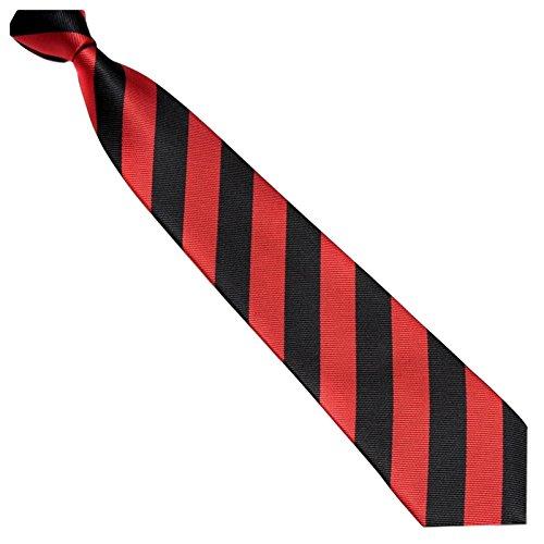Schmale Krawatte 7cm Streifen College Design Schwarz Rot gestreift - Binder Gewebte Microfaser Seiden-Optik - Herrenkrawatte z Anzug - Herren Schlips (Krawatte Gewebte Seide Cambridge)