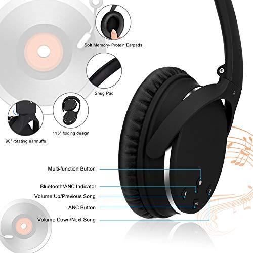 Kopfhörer Bluetooth Kabellos Noise Cancelling- Srhythm NC25- Over Ear Kopfhoerer mit Mikrofon Aktiver Geräuschunterdrückung 190g Ultraleicht Faltbar Hi-Fi Stereo mit Flugzeugstecker - 7