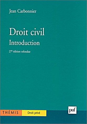 Droit civil : Introduction, 27e dition
