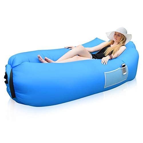 Siphly Hamac Gonflable, Gonflable avec Oreiller AIR Lit Plage Chaise Longue Air Sofa Gonflable Lounger en Nylon Résistant...