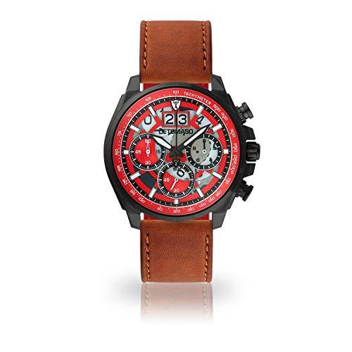 DETOMASO LIVELLO Men's Wristwatch Chronograph Analogue Quartz Brown Leather Strap red dial DT2060-C-828