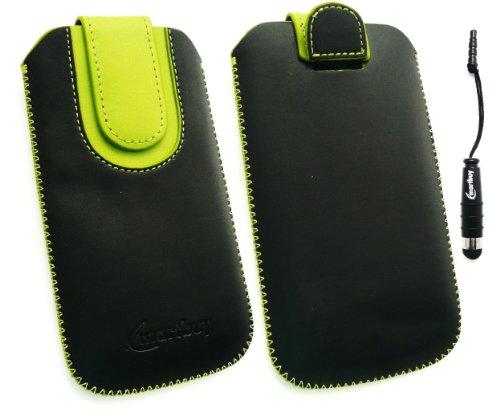 Emartbuy ® Pack Stylet Pour Apple Iphone 5 Noir / Vert Premium En Cuir Pu Faites Glisser Pouch / Case / Sleeve / Holder (Taille X-Large) Avec Un Mécanisme De Tirette + Mini Metallic Noir