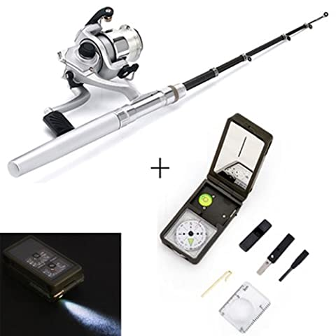 HDE Mini Portable Telescopic Pocket Pen Fishing Rod and Reel w/ 10-in-1 Multifunction Survival Tool