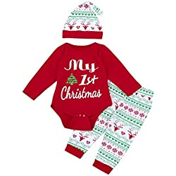 Navidad Bebe Ropa,SMARTLADY Bebé Niña Niño Monos 'my 1st Christmas ' + Pantalones a rayas + Sombrero (0-3 meses, Rojo-02)