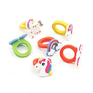10 piezas unicornio anillo de