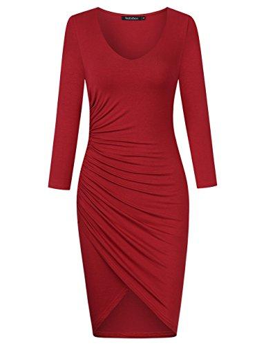 KOJOOIN/YesFashion Damen Elegant Abendkleid Langarm Knielang Etuikleid Partykleid Business Kleider, Wein Rot-1, L (Formale Rot Langarm Kleid)