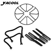Yacool ® Drone Kits de repuestos incluye 4 cuchillas / Cuchilla 4 protegen la cubierta 2 patines de aterrizaje apropiado para JJRC H8C H8D RC Quadcopter Drone - negro