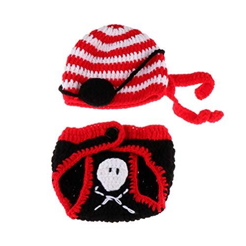 YeahiBaby Baby Piraten Fotografie Kostüm mit Mütze Neugeborene Foto Prop Gehäkelte Kostüm für Junge Mädchen