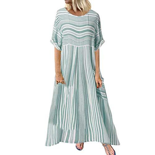 CUTUDE Damen Minikleid Täglich Langarm Casual Frühlingskleid Streifendruck Skaterkleid Loses Rundhals Taschen Langärmliges Kleid (Grün, Small)