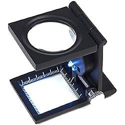FOXNOVO portátil plegable en tres ordenadores de sobremesa 8 X Magnifier aumento soporte de reparación, mecanismo con luces LED 2 escaleras () negro