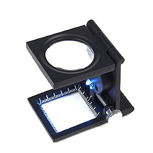 FOXNOVO Portatile pieghevole a tre Desktop 8 X Magnifier ingrandimento Stand riparazione strumento con 2 LED luci Scale (nero)