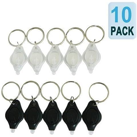 5 pedazos al paquete) Mini llavero linterna LED | La luz de la antorcha micro con Llavero - Negro por Express Panda®