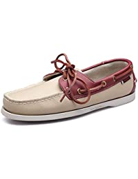 af3624f700d9 Fuxitoggo Mens Soft Sole Non Slip Driving Shoes Casual Daily Smart Genuine  Leather Boat Shoes (