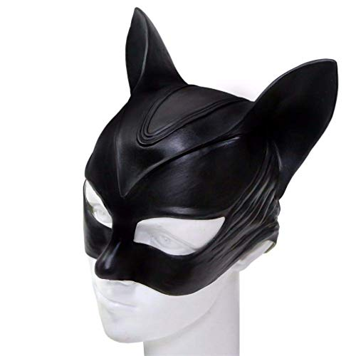 Beauty Sexy Kostüm Burlesque - Catwoman Maske, Halloween Sexy Black Cat Teufel Latex Kopf Maske Cosplay Lustige Kostüm Maske, Einheitsgrösse