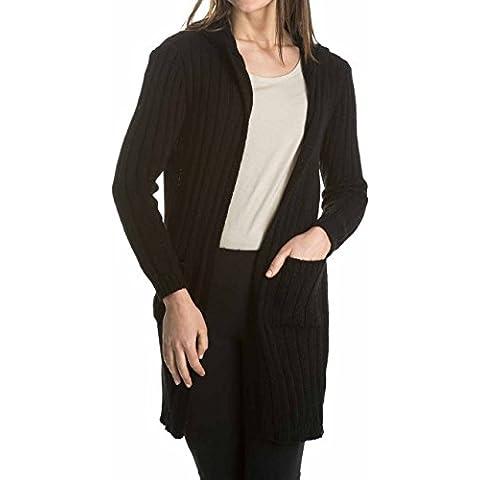 Laura Moretti - Chaqueta larga de punto con capucha y bolsillos
