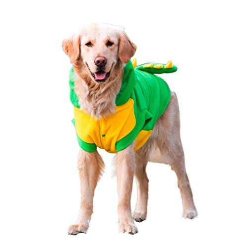 GWELL Hundekostüm Hundekleidung Hundemantel Hundejacke Kapuzepullover Herbst Winter Mantel Pullover für Großen Hund Haustier Dinosaurier Grün 5XL