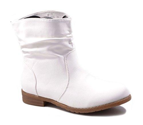 Weiße Leder Western Cowboy Stiefel (Damen Stiefeletten Cowboy Western Stiefel Boots Flache Schuhe HP86 (36, Weiß))