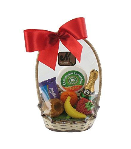 Marzipan Geschenkkorb 70g/Milka Naps/Käseschachtel aus Papier/Sektflasche aus Schokolade/Kuchen/Orange/Erbeere/Banane