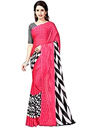 Winza Designer maheshwari Georgette with Blouse Piece Saree (G-15- Pink_Free)