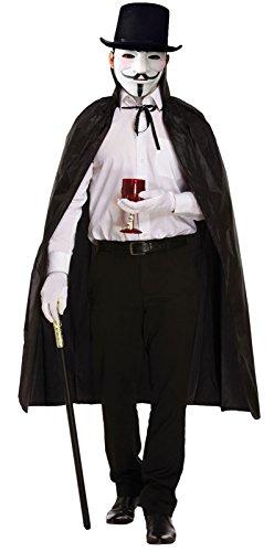 Halloween Vendetta Maske Weiß Lincoln Hat Lange Cape Fancy Dress Party ()