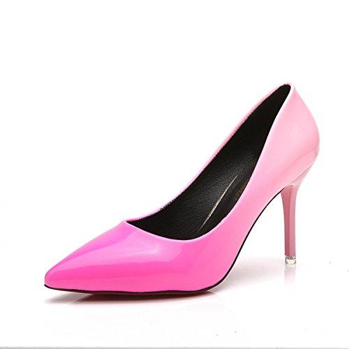 Senhoras Bombas De Couro Deslizamento Pontas Stilettos Toe Vermelho Sola Anti-deslizar Facilmente Rosa Sapatos De Casamento
